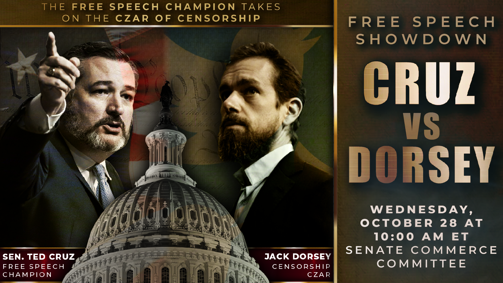 "Card advertising a Senate Commerce Committee Hearing as a ""FREE SPEECH SHOWDOWN"" labeling Sen. Ted Cruz as ""THE FREE SPEECH CHAMPION"" and Twitter CEO Jack Dorsey as ""THE CZAR OF CENSORSHIP."""